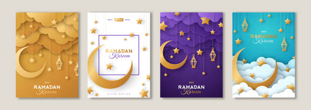 Ramadan posters set with moon Ramadan Kareem set of posters or invitations design with 3d paper cut islamic lanterns, stars and moon on gold and violet background. Vector illustration. Place for text ramadan stock illustrations