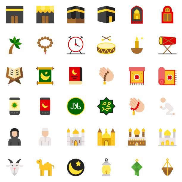 ilustrações de stock, clip art, desenhos animados e ícones de ramadan related vector icon set, flat style - cora��o