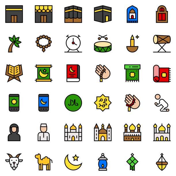 ilustrações de stock, clip art, desenhos animados e ícones de ramadan related vector set, filled editable outline - cora��o