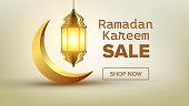 Ramadan Sale Banner Vector. Eid Background. Offer Tag. Big Super Sale. Islamic Poster. Arabic Template. Ramazan Arabian Holiday Shopping. Decoration Art. Business Message. Discount Flyer. Illustration