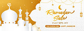 Ramadan Sale Banner Vector illustration. Mosque white and golden theme. Ramadan Coupon discount