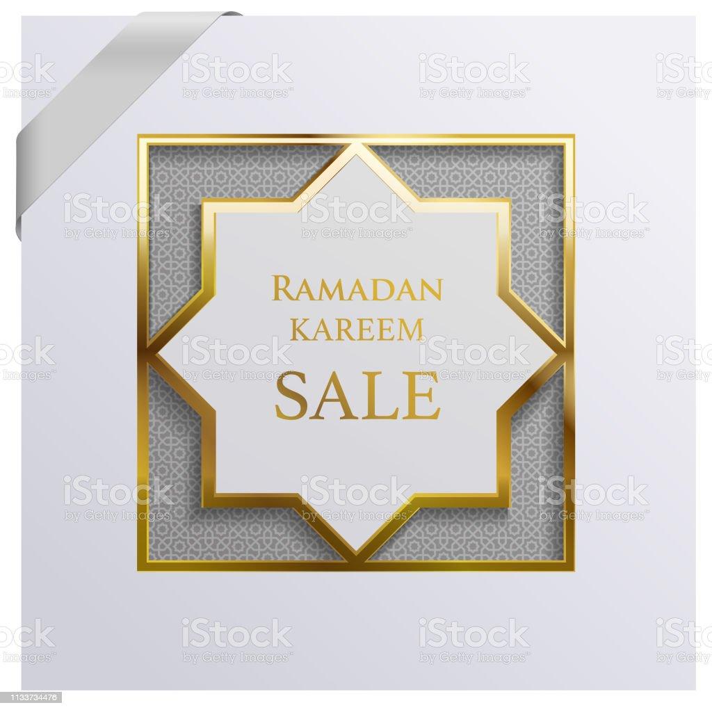 Ramadan sale & greetings poster vector art illustration
