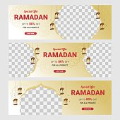 Ramadan sale social media post template banners ad. Wishing for Islamic festival. Perfect for banner, poster, background, flyer,illustration, brochure and sale background