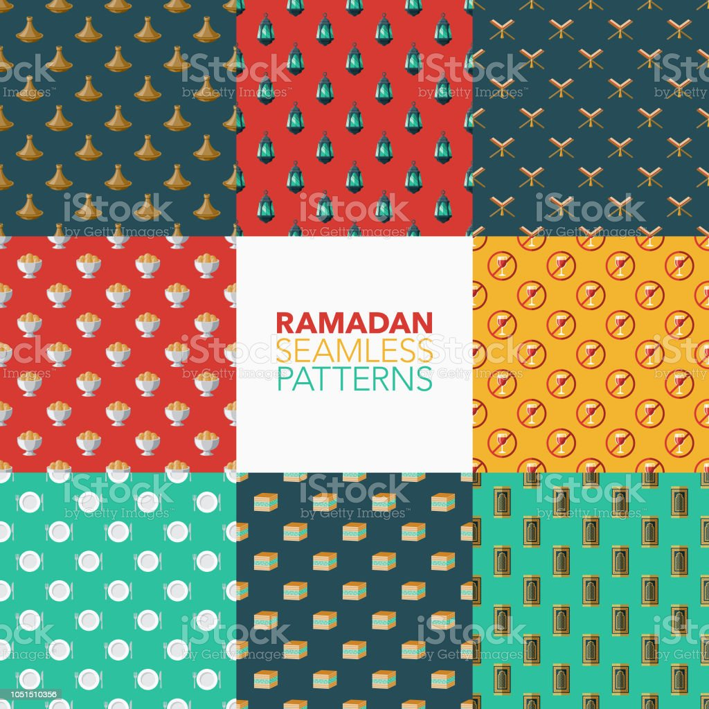 Ramadan Seamless Pattern Set vector art illustration
