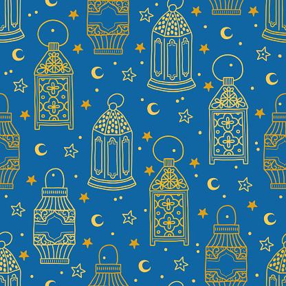 Ramadan seamless pattern with contour lanterns, stars and moon