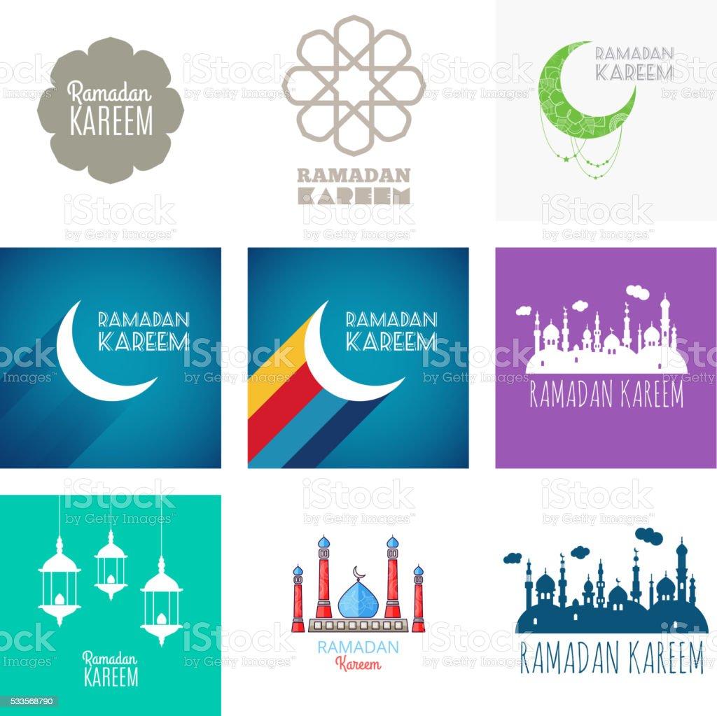 Ramadan Set, Ramadan Arabic,Ramadan Greeting, Ramadan Traditional vector art illustration
