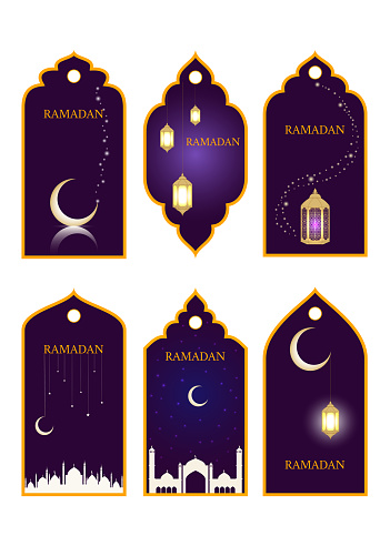 Ramadan Tag Collection Set. Vector illustration badges with glowing lanterns, mosque, shiny crescent and stars.