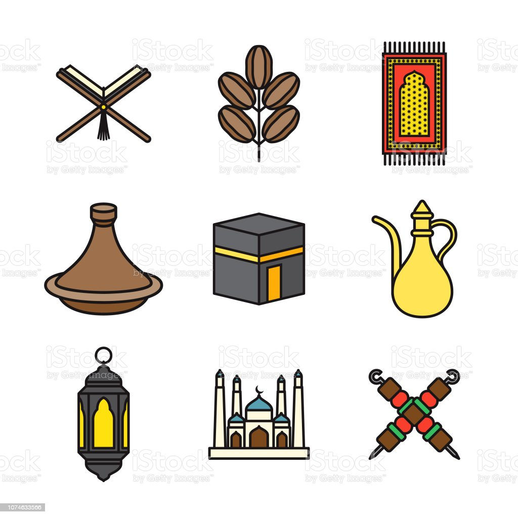 Ramadan Thin Line Icon Set vector art illustration