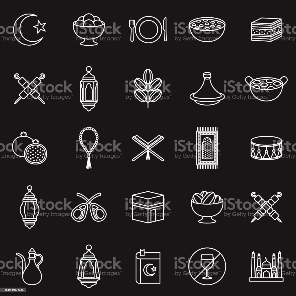 Ramadan Thin Line Outline Icon Set vector art illustration