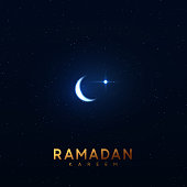 Ramadan vector background. Night blue view of starry sky bright moon, light half a month. Design greeting card, banner, poster. Traditional Islamic holy holiday