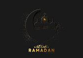 Ramadan vector background. paper cut effect surrounds the glitter of golden sand. Arabic calligraphic text translation of Ramadan Kareem