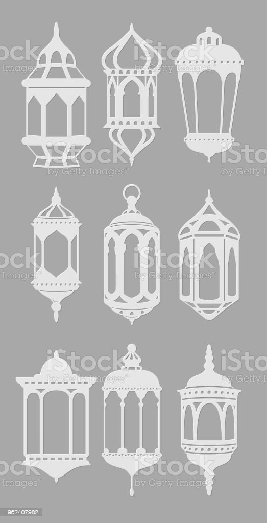 Ramadan Vintage Lantern Linear Icons Muslim Antique Lamp Symbols