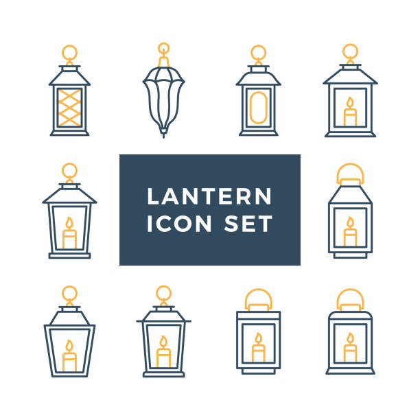 Ramadan vintage lantern set. Islamic antique lamp or light, muslim traditional line art. Vector flat style illustration isolated on white background Ramadan vintage lantern set. Islamic antique lamp or light, muslim traditional line art. Vector flat style illustration isolated on white background lantern stock illustrations