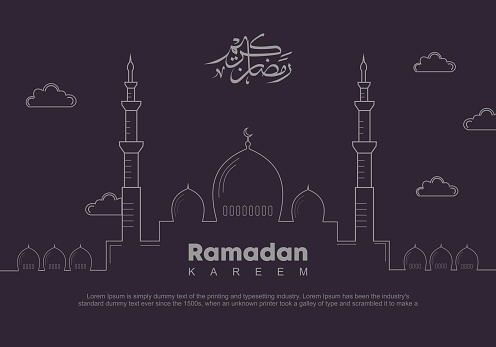 Ramadan web banner template. Vector illustration of Ramadan Kareem with outline style. Mosque and arabic calligraphy translated: Holy Ramadan. Good for poster celebration for muslim community.
