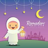 Ramadan greeting card. Cute cartoon muslim girl holding lantern with crescent moon, stars and mosque as background. Vector illustration. Ramadan Kareem means Ramadan the Generous Month.