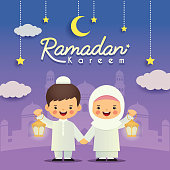 Ramadan greeting card. Cute cartoon muslim kids holding lantern with crescent moon, stars and mosque as background. Vector illustration. Ramadan Kareem means Ramadan the Generous Month.