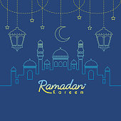 Ramadan Kareem template or copy space. Mosque with crescent moon and lantern in gradient lien art style on blue background. Ramadan Kareem means Ramadan the Generous Month.