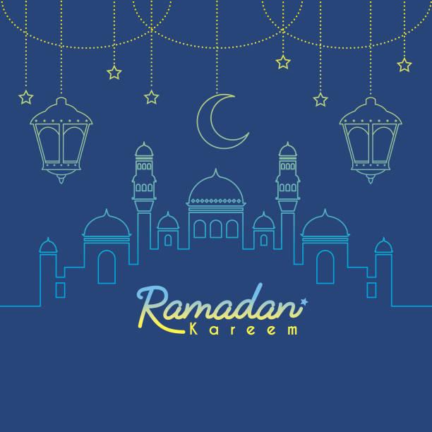 ramadan_mosque & halbmond mond im farbverlauf pfandrecht art_blue - ramadan kareem stock-grafiken, -clipart, -cartoons und -symbole