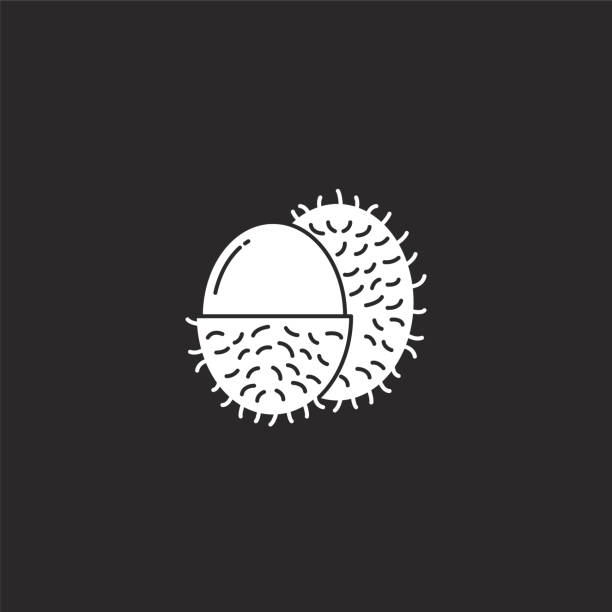 rambutan icon. Filled rambutan icon for website design and mobile, app development. rambutan icon from filled fruit collection isolated on black background. rambutan icon. Filled rambutan icon for website design and mobile, app development. rambutan icon from filled fruit collection isolated on black background. avocado symbols stock illustrations