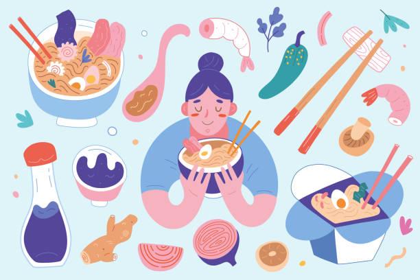 stockillustraties, clipart, cartoons en iconen met ramen collectie, kommen en eetstokjes met ingrediënten, vrouw eten hete noedelsoep met bouillon, aziatische en japanse gerechten, set van platte vector cartoon illustraties geïsoleerde, smakelijke noedels - eetklaar