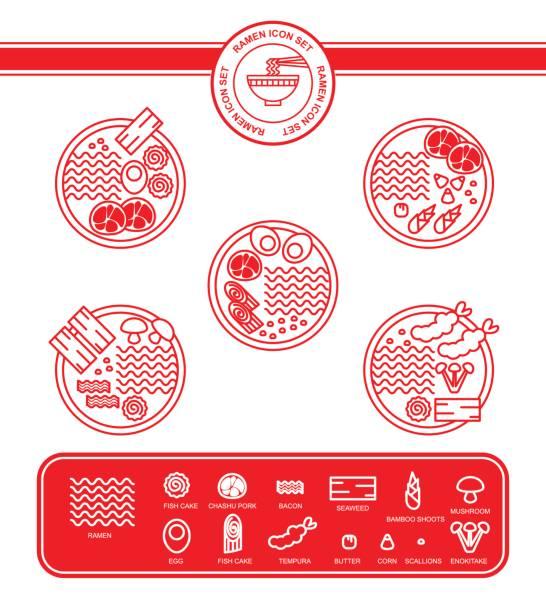 ラーメン麺のアイコンを設定 - ラーメン点のイラスト素材/クリップアート素材/マンガ素材/アイコン素材