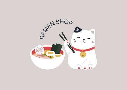 A ramen shop logo, a cute Maneki Neko cat holding wooden chopsticks, Asian restaurant design
