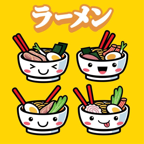 ramen mit niedlichen cartoon-stil - japanisches essen stock-grafiken, -clipart, -cartoons und -symbole