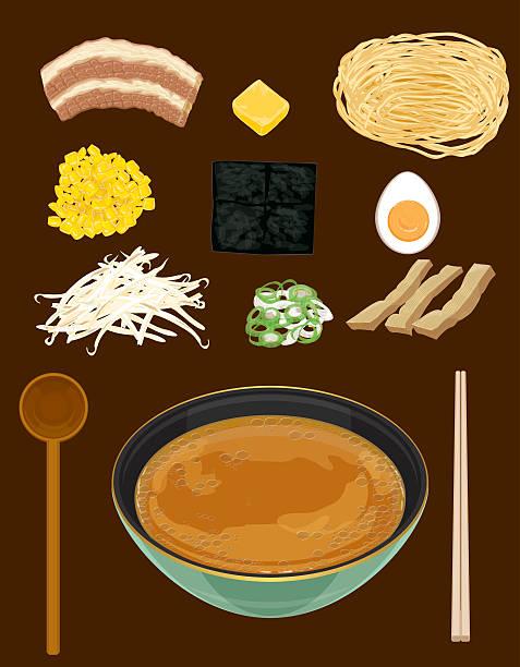 、味噌ラーメン、ラーメン soup.japanese - ラーメン点のイラスト素材/クリップアート素材/マンガ素材/アイコン素材
