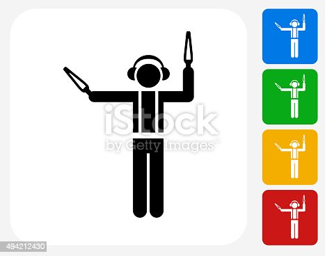 Ramp Agent Icon. This 100% royalty free vector illustration features the main icon pictured in black inside a white square. The alternative color options in blue, green, yellow and red are on the right of the icon and are arranged in a vertical column.