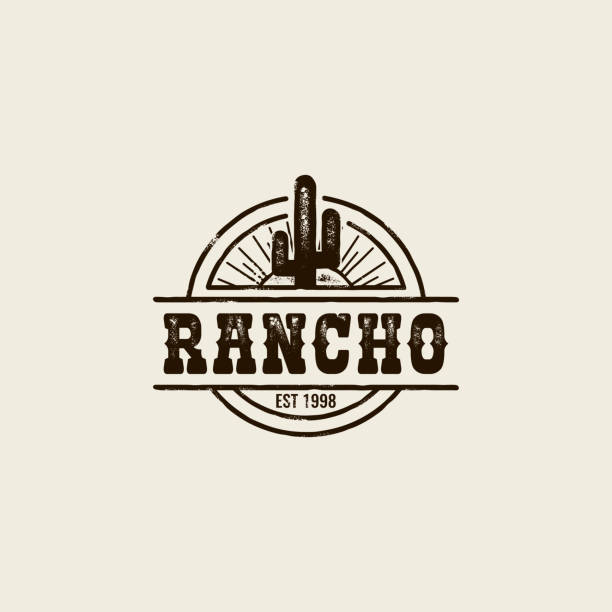 ranch cactus logo - rodeo stock illustrations, clip art, cartoons, & icons