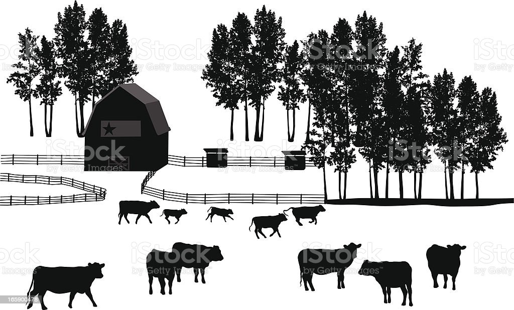 Ranch Land Vector Silhouette royalty-free stock vector art