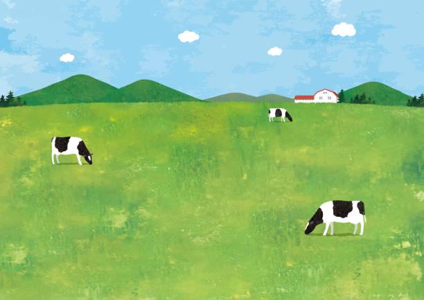牧場の水彩画 - 草原点のイラスト素材/クリップアート素材/マンガ素材/アイコン素材