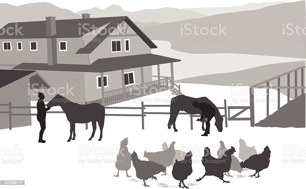 RanchHouse vector art illustration