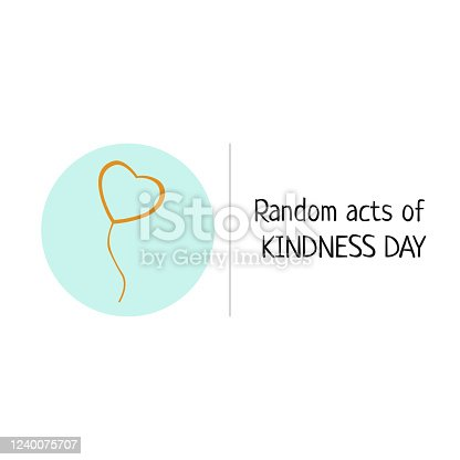 istock Random acts of kindness day emblem isolated vector illustration. World altruistic holiday event label. 1240075707