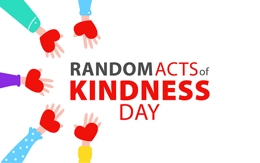 Random acts of kindness day emblem isolated vector illustration. World altruistic holiday event label. Vector illustration