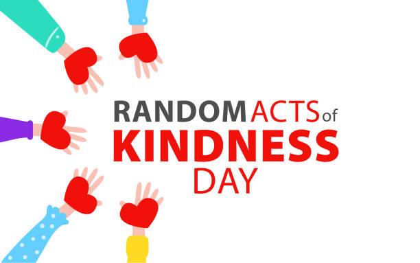 illustrazioni stock, clip art, cartoni animati e icone di tendenza di random acts of kindness day emblem isolated vector illustration. world altruistic holiday event label. - opportunità
