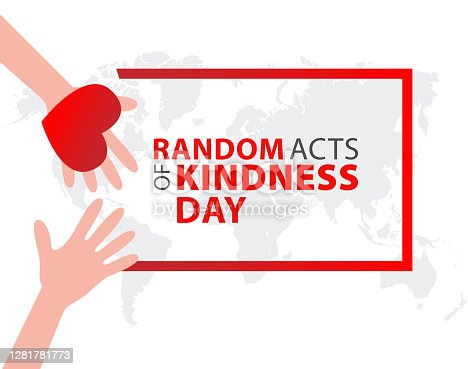 istock Random acts of kindness day emblem isolated vector illustration. World altruistic holiday event label. 1281781773