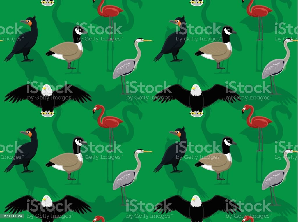 Random American Birds Wallpaper 4 vector art illustration