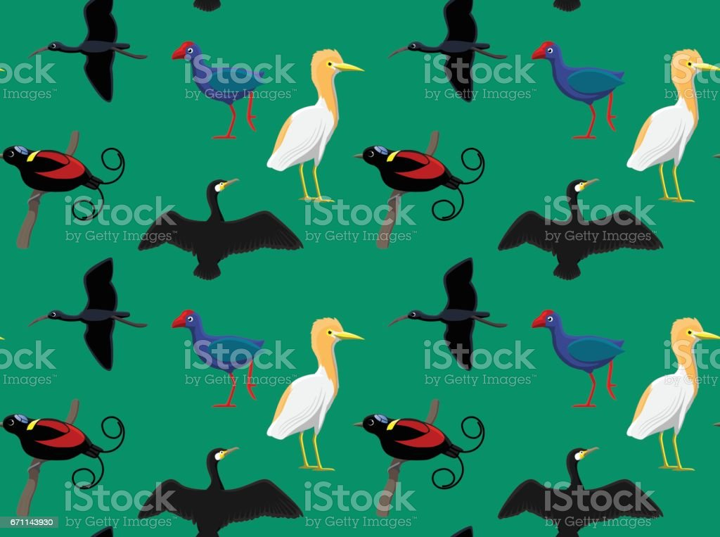 Random Australian Birds Wallpaper 4 vector art illustration