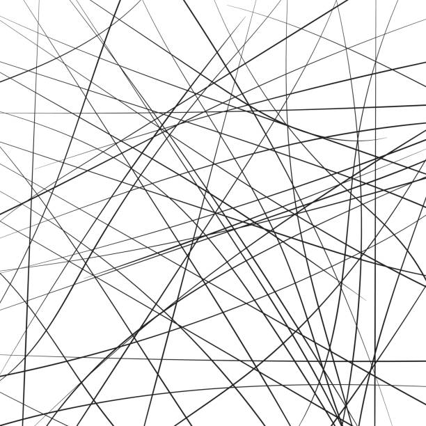 Random chaotic strip lines diagonally, abstract geometric background pattern. Vector modern art illustration, Brownian movement Random chaotic strip lines diagonally, abstract geometric background pattern. Vector modern pop art illustration, Brownian movement crisscross stock illustrations
