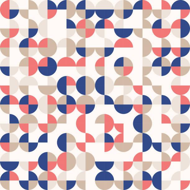 zufällige farbige abstrakte geometrische mosaik muster hintergrund - bauhaus stock-grafiken, -clipart, -cartoons und -symbole