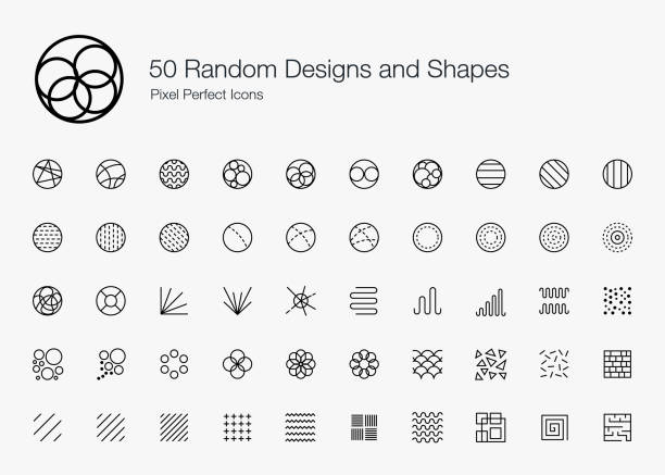 50 Random Designs and Shapes Pixel Perfect Icons (Line Style). Vector icon set of random round circle pattern,  abstract lines, and shapes. arbitrary stock illustrations