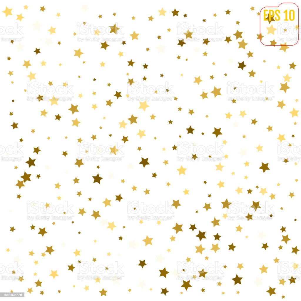 Random falling gold stars on white background. Glitter pattern for banner, greeting card, Christmas and New Year card, invitation, postcard, paper packaging. Vector illustration royalty-free random falling gold stars on white background glitter pattern for banner greeting card christmas and new year card invitation postcard paper packaging vector illustration stock vector art & more images of backdrop