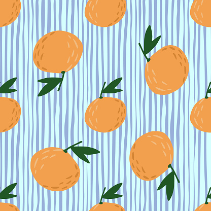 Random food seamless pattern with orange mandarin shapes. Different sizes fruit shapes on blie striped background.