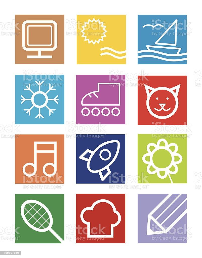 Pictogramas aleatorio ilustración de pictogramas aleatorio y más banco de imágenes de amarillo - color libre de derechos