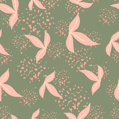 Random seamless botanic pattern with pink simple leaf ornament. Green background with splashes.