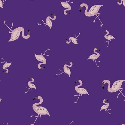 Random seamless doodle pattern with cartoon simple flamingo silhouettes. Purple background.