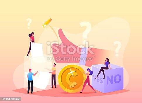 istock Random Selection Concept. Tiny Male Female Characters Throw Coin and Dice with Yes or No Sides, Pulling Paper from Box 1280973969
