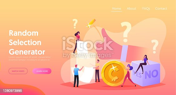 istock Random Selection Landing Page Template. Tiny Characters Throw Coin and Dice with Yes No Sides, Pulling Paper from Box 1280973995
