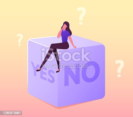 istock Random Selection or Making Hard Decision Concept. Tiny Female Character Sitting on Huge Dice with Yes or No Sides, Fate 1280973967